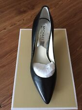 NIB $99 MICHAEL KORS MK Flex Black Leather Mid Pump Heels Sz 8M