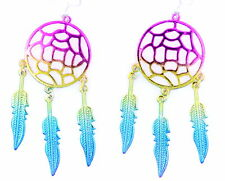 Rainbow colour effect dream catcher style flower and leaf chandelier earrings