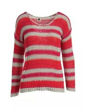 ROXY New Women's MultiColor Crochet Striped Long Sleeve Pullover Top Sweater XS