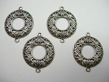 Antiqued Silver Plated Filigree Drops Earring Findings Connectors - 4