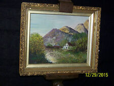 Antique Original Oil On Panel Landscape Painting Artist Signed