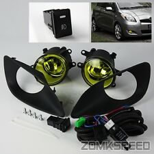 For 2006-2011 Toyota Yaris 4DR Sedan JDM Yellow Fog Lights Lamps w/ Switch/Bezel