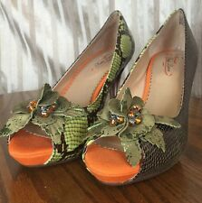 Poetic Licence Faithfully Yours Green And Bronze Eur 40 US 9 Open Toe Heels