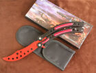 Practice BALISONG METAL BUTTERFLY Scimitar Shape Trainer Knife with Sheath #RED