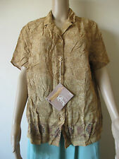 New Marks & Spencer Beige Brown Tribal Print Shirt, Size 20, Button Blouse