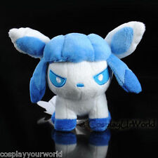 Glaceon Ice Pokemon Eevee Evolution Soft Plush Doll Toy White Winter PKM #471