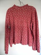 Jones New York Sport  Red Beige Floral long sleeve Mock Neck top Sz   XL