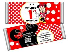 Minnie Mouse in Red Candy Bar Wrappers - Birthday Favors - Set of 12