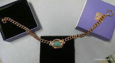AUTH VTG ELIZABETH TAYLOR NECKLACE TAYLORED STYLE GOLD CHAIN W FAUX RUBY JADE