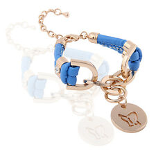 Blue PU Leather & Gold Rhinestones Wrap Butterfly Charm Bracelet BB66