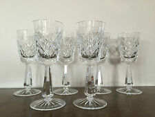 "6 Superb Galway Irish Cut Crystal O'Brien Stemware Wine Glasses 6 7/8"" H Signed"