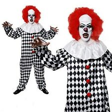 Adult Mens KILLER CLOWN Halloween Horror Fancy Dress Costume & Red Wig V00 353