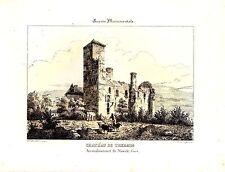 LITHOGRAPHIE AQUARELLEE 19ème GUIENNE MONUMENTALE CHATEAU DE THERMES GERS