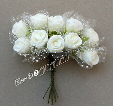 100 White Foam Mini Rose Flowers Surround White Mesh,Wedding Flowers (DW8)