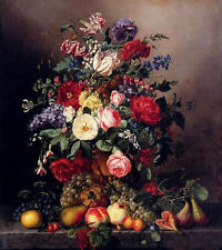 Art oil painting A Still Life With Assorted flowers with fruits on canvas 36""