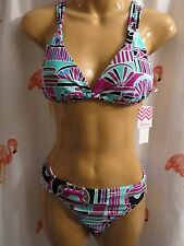 Roxy/Raisins XL Magenta 2 Pc Bikini Swimsuit Oaxaca Trianlge Cocoa Beach Pant