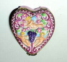 LIMOGES BOX - CARDINET - ANGELS & FLOWERS PINK HEART - CUPIDS & GRAPES - FRUITS