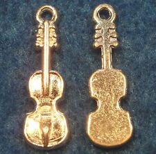 10Pcs. Tibetan Silver-Plated Detailed VIOLIN Charms Pendant Drops Findings M27