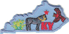 """""""KY""""- KENTUCKY STATE SHAPE PATCH-Iron On Embroidered Applique/South/Derby/Horses"""