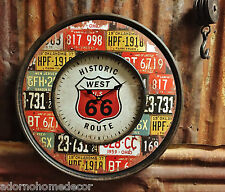 Metal License Plate Wall Clock Round Route 66 Industrial Distressed Rustic Chic
