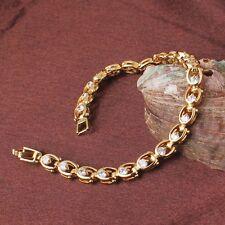 """24k yellow gold filled white sapphire splendid engagement chic bracelet 7"""""""