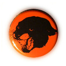 Badge TATTOO Tête PANTHERE NOIRE sur fond orange rock rockabilly button Ø25mm