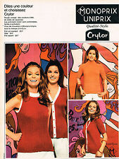 PUBLICITE  1968   MONOPRIX UNIPRIX collection vetements CRYLOR