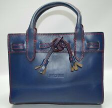 Dooney And Bourke Alto Collection Navy Blue Leather Mini Tassel Tote Purse