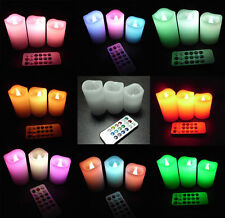 3x LED Electric Smokeless Lavender Scented 12 Color Changing Wax Candles w/Timer