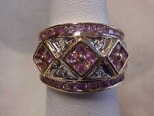 *ESTATE*WIDE*1.02ctw PINK SAPPHIRE & PAVE SET DIAMOND BAND-RING 14K YELLOW GOLD