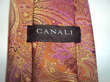 Canali mens SILK tie necktie MINT Rust paisley WOVEN HEAVY DELUXE Perfect