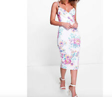 Ladies New Floral Wrap Front Trim Midi Dress In Multi White Size 12 UK