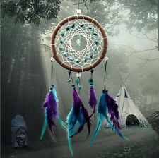 New Turquoise Dream Catcher with Feather Ornament Craft Car Room Decoration