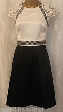 Karen Millen Geometric Lace Cap Sleeve Contrast Satin Colour Block Dress  10 38