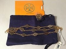 NWT TORY BURCH MULTI STRAND LOGO BRACELET in Gold Color + Receipt!