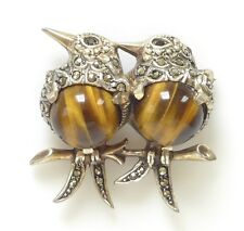 VTG 835 Silver Tigers Tiger Eye Marcasite Onyx Bird Brooch Pin Antique Art Deco