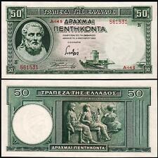 GREECE 50 DRACHMAI 1-1-1939 UNC P 107