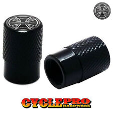 2 Black Billet Knurled Tire Valve Cap Motorcycle - IRON CROSS - 018
