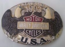 New Vtg. Harley Davidson Belt Buckle Manufactured by Raintree - Established 1903
