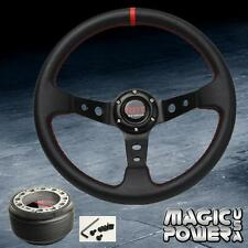 350mm Black Deep Dish Racing Steering Wheel & Hub Adapter Honda Accord 1994-2014