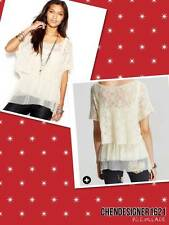 Free People size M Luna Short-Sleeve Layered-Look soft fine thin sweater Top new