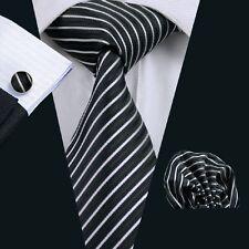 C-394 Hot New Mens Silk Ties Black Wedding Party Neckties Tie+Hanky+Cufflinks