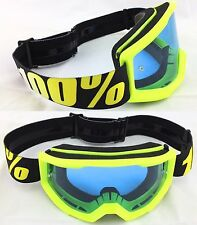 100% PERCENT STRATA MX MOTOCROSS MX BIKE GOGGLES NEON YELLOW with BLUE TINT LENS