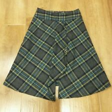 Hobbs Grey Wool Tartan A-Line Skirt. UK Size 10