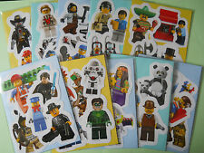10 Packs of Lego Mini Figure Stickers Childrens Party Bag Fillers - Series, City