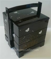 3 Tier Butterfly Motif Japanese JUBAKO Lacquer Bento Box w/Handle/Made in Japan