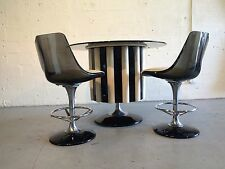 chromcraft bar with 2 stools lucite space age eames knoll saarinen vinyl