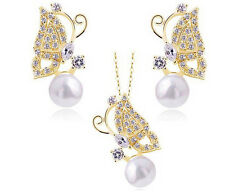 2pcs Jewelry Sets gold Plated butterfly design women's Necklace Earrings gift