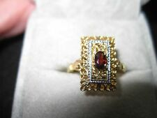 Antique Victorian 18k Yellow Gold Filigree Garnet Ring, size 8.25