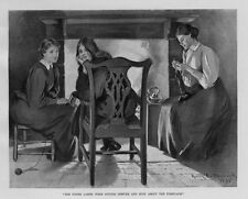 KNITTING NEEDLES YARN LASSES WERE SITTING DEMURE AND BUSY ABOUT THE FIREPLACE